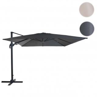 Gastronomie-Ampelschirm HWC-A96, 3x3m (Ø4, 24m) schwenkbar, Polyester Alu/Stahl 23kg ~ anthrazit ohne Ständer