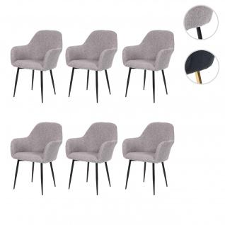 6x Esszimmerstuhl HWC-F18, Stuhl Küchenstuhl, Retro Design Stoff/Textil grau, schwarze Beine