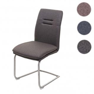 Esszimmerstuhl HWC-H70, Küchenstuhl Freischwinger Lehnstuhl Stuhl, Stoff/Textil Edelstahl gebürstet ~ grau-braun