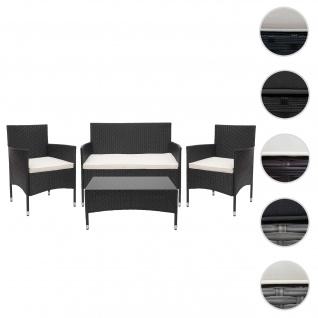 Poly-Rattan Garnitur HWC-F55, Balkon-/Garten-/Lounge-Set Sofa Sitzgruppe ~ schwarz, Kissen creme