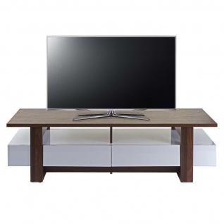 TV-Rack HWC-B51, Fernsehtisch Lowboard Schrank, 3D-Struktur Walnuss-Optik hochglanz 46x150x45cm