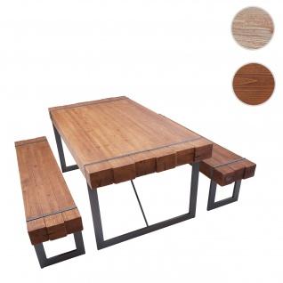 Esszimmergarnitur HWC-A15, Esstisch + 2x Sitzbank, Tanne Holz rustikal massiv ~ braun 160cm
