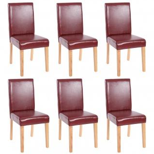 6x Esszimmerstuhl Stuhl Küchenstuhl Littau ~ Kunstleder, rot-braun, helle Beine