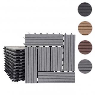 WPC Bodenfliese Rhone, Holzoptik Balkon/Terrasse, 11x je 30x30cm = 1qm ~ Basis, grau versetzt