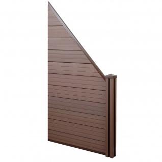 WPC-Sichtschutz Sarthe, Windschutz Zaun, WPC-Pfosten ~ Erweiterungselement schräg rechts, 0, 98m braun