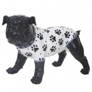 Deko Figur Bulldogge 24cm, Polyresin Skulptur Hund, In-/Outdoor, handbemalt mit Jäckchen
