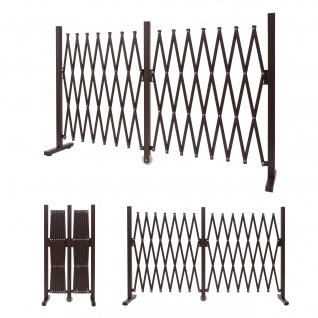 Absperrgitter HWC-B34, Zaun Schutzgitter Scherengitter Trenngitter, Alu ausziehbar braun Höhe 103cm, Breite 52-400cm