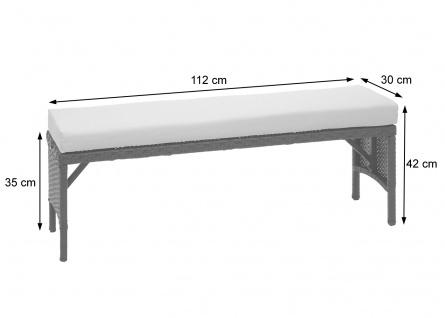 Poly-Rattan Garnitur HWC-G16, Balkonset Gartensitzgruppe, Gastronomie 2xBank Tisch 2xHocker - Vorschau 3