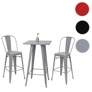 Set Stehtisch + 2x Barhocker HWC-A73, Barstuhl Bartisch, Metall Industriedesign ~ grau