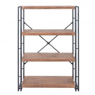 Bücherregal HWC-A27, Standregal Wohnregal, 121x80cm 3D-Struktur 4 Ebenen, Wildeiche-Optik - Vorschau 3