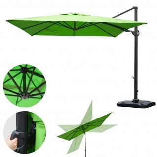 Gastronomie-Ampelschirm HWC-A39, 3x3m (Ø4, 24m) schwenkbar drehbar, Polyester/Alu 31kg ~ grün mit Ständer - Vorschau 2