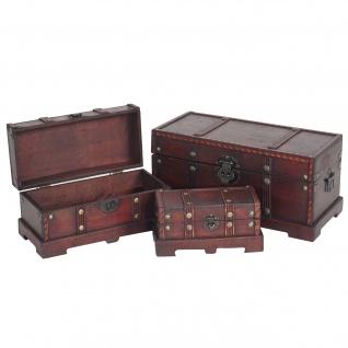 3er Set Holztruhe Holzbox Valence 10x21x10 bis 17x38x18cm eckig