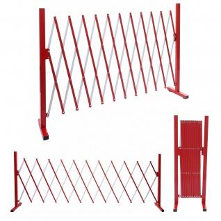 Absperrgitter HWC-B34, Scherengitter Zaun Schutzgitter ausziehbar, Alu rot-weiß ~ Höhe 103cm, Breite 37-300cm