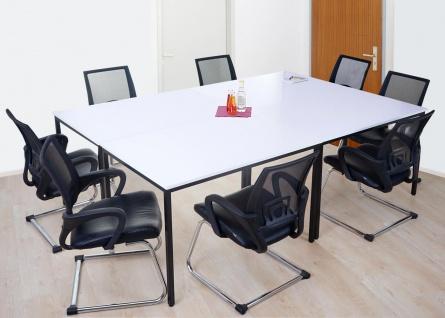 Schreibtisch Braila, Konferenztisch Bürotisch Seminartisch, 160x80cm MDF ~ weiß - Vorschau 3