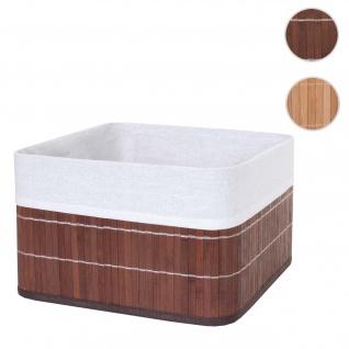 Aufbewahrungskorb HWC-C21, Korb Aufbewahrungsbox Ordnungsbox Sortierbox Regalkorb, Bambus ~ braun