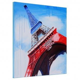 Ölgemälde Eiffelturm Tricolore, 100% handgemaltes Wandbild Gemälde XL, 100x100cm - Vorschau 3