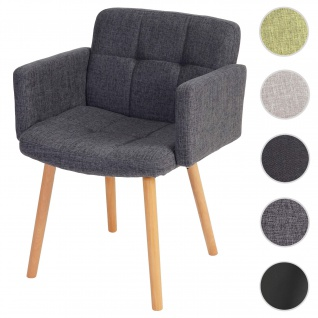 Esszimmerstuhl Orlando II, Stuhl Küchenstuhl, Retro-Design ~ Textil, grau