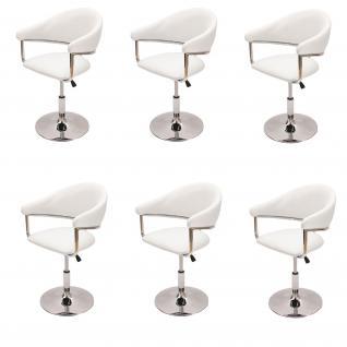 6x Esszimmerstuhl Dema, Drehstuhl Stuhl, Kunstleder ~ weiß