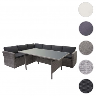 Poly-Rattan-Garnitur HWC-A29, Gartengarnitur Sitzgruppe Lounge-Esstisch-Set Sofa ~ grau, Kissen grau