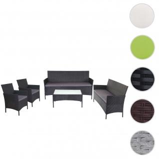 3-2-1-1 Poly-Rattan Garten-Garnitur Halden, Lounge-Set Sitzgruppe Sofa ~ anthrazit, Kissen anthrazit