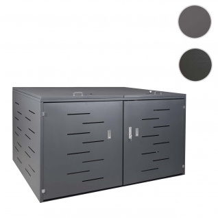 2er-Fahrradgarage HWC-H80, Fahrradbox Geräteschuppen, abschließbar ~ ohne Pflanzkasten 118x200x150cm anthrazit