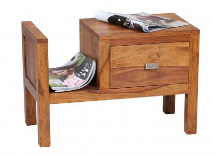 Nachttisch Malatya, Nachtschrank Beistelltisch, Sheesham Massivholz, 60x40x30cm