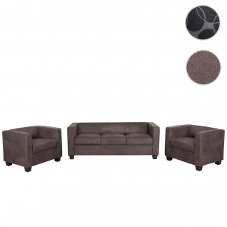 3-1-1 Sofagarnitur Couchgarnitur Loungesofa Lille, Stoff/Textil vintage dunkelbraun