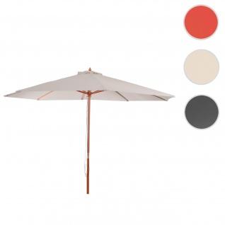 Sonnenschirm Florida, Gartenschirm Marktschirm, Ø 3, 5m Polyester/Holz 7kg ~ creme