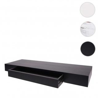 Wandregal HWC-H37, Schweberegal Wandboard Hängeregal Regal, Schublade Massiv-Holz 8x80x25cm ~ schwarz