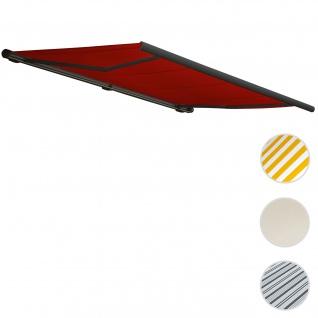 Elektrische Kassettenmarkise T122, Markise Vollkassette 4x3m ~ Polyester bordeaux-rot, Rahmen anthrazit