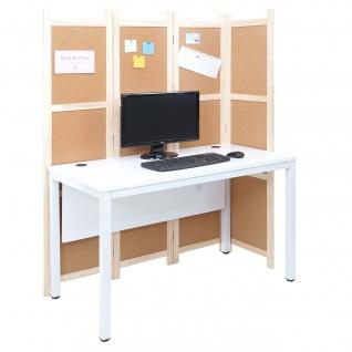 Schreibtisch HWC-E94, Bürotisch Computertisch mit Trennwand Pinnwand Sichtschutz