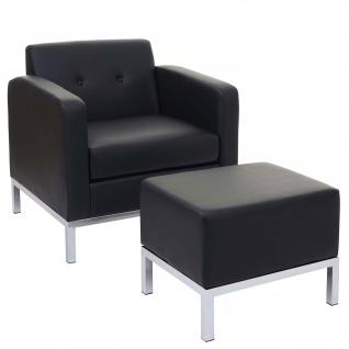 Sessel mit Ottomane HWC-C19, Modular-Sofa mit Armlehnen, erweiterbar Kunstleder ~ schwarz