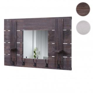 Wandgarderobe HWC-C89 mit Spiegel, Garderobenpaneel Garderobe, Shabby-Look Vintage, 5 Haken 90x60cm braun, shabby