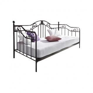 Bett H134, Gästebett Day Bed, Metall pulverbeschichtet, mit Lattenrost, schwarz