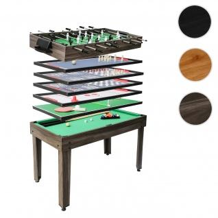 Tischkicker HWC-J15, Tischfußball Billard Hockey 7in1 Multiplayer Spieletisch, MDF 82x107x60cm ~ anthrazit-grau