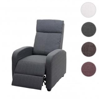 Fernsehsessel HWC-F76, Relaxsessel Sessel Liegesessel, Liegefunktion verstellbar Stoff/Textil ~ hellgrau