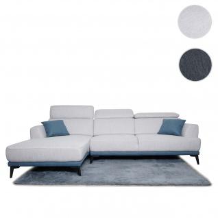 Sofa HWC-G44, Couch Ecksofa L-Form, Liegefläche Nosagfederung Taschenfederkern Teppich verstellbar ~ links, hellgrau