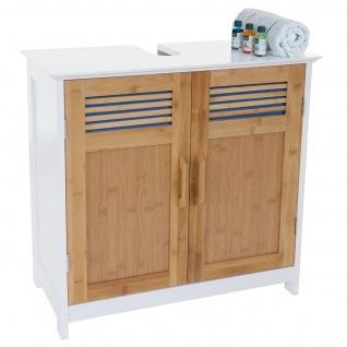 Waschbeckenunterschrank HWC-A85, Badschrank Bambus, 60x60x30cm weiß