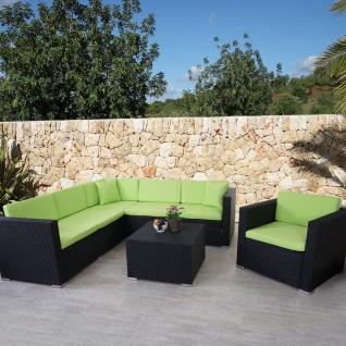 Poly-Rattan-Garnitur ROM Basic, Sofa Sessel Lounge-Set, Alu anthrazit, Kissen grün