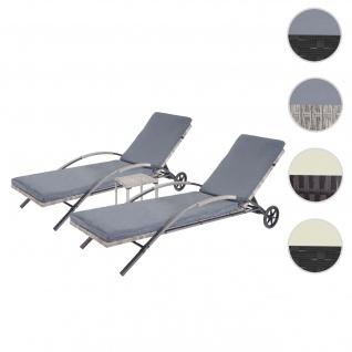 2x Sonnenliege HWC-E27, Relaxliege Gartenliege, Poly-Rattan ~ grau Kissen dunkelgrau