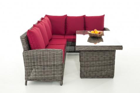 Sofa-Garnitur CP056, Lounge-Set Gartengarnitur, Poly-Rattan ~ Kissen rubinrot, grau-meliert
