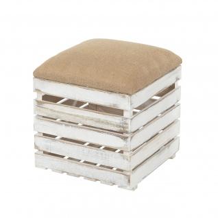 Sitzhocker T359, Hocker Sitzwürfel, Shabby-Look Vintage 46x40x40cm weiß