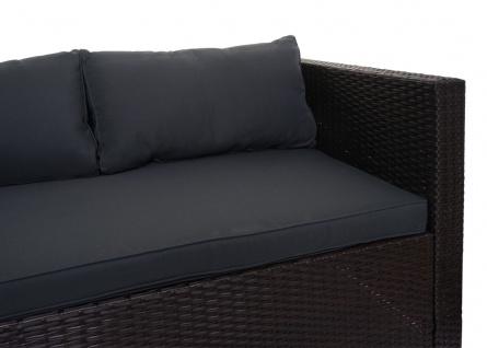 Poly-Rattan Garnitur HWC-F57, Balkon-/Garten-/Lounge-Set Sofa Sitzgruppe ~ braun, Kissen dunkelgrau mit Deko-Kissen - Vorschau 4
