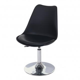 Drehstuhl Malmö T501, Stuhl Küchenstuhl, höhenverstellbar, Kunstleder ~ schwarz, Chromfuß - Vorschau 2