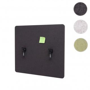 Akustik-Tischtrennwand HWC-G75, Büro-Sichtschutz Schreibtisch Pinnwand, doppelwandig Stoff/Textil ~ 65x60cm braun-grau