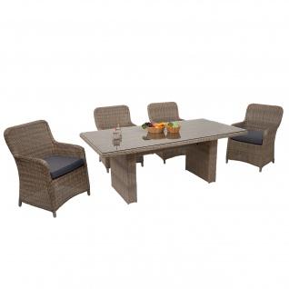 Poly-Rattan Garnitur HWC-E98, Balkon-/Garten-/Lounge-Set Sitzgruppe, Spun Poly halbrundes Rattan beige Kissen grau