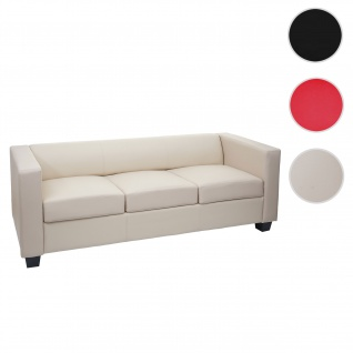 3er Sofa Couch Loungesofa Lille, Leder ~ creme