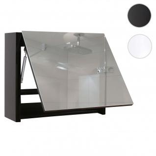 Spiegelschrank HWC-B19, Wandspiegel Badspiegel Badezimmer, aufklappbar hochglanz 48x79cm ~ schwarz