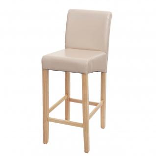 Barhocker HWC-C33, Barstuhl Tresenhocker, Holz ~ creme, helle Beine, Kunstleder - Vorschau 2