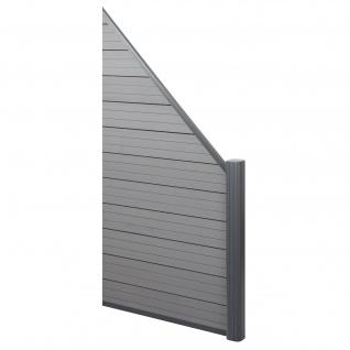 WPC-Sichtschutz Sarthe, Windschutz Zaun, Alu-Pfosten ~ Erweiterungselement schräg rechts, 0, 95m grau